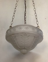 Three chain pendant lights, translucent embossed shades $150