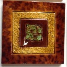 Original tiles, Tortoise shell glaze on border, x 6, some light scratches on some. $27.50 each can split in multiples of two