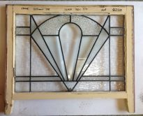Art Deco clear/textured glass leadlight window in frame, bevel glass, frame w815 x h595mm; glass w710 x h510mm, 2 available $220 each salvage recycled demolition, reproduction restoration, renovation, collectable, secondhand, used, original, old, reclaimed heritage, antique