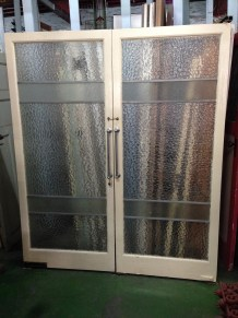 Deco style French doors, full glass, textured, approx. w 1700 x h 1995mm $445 salvage recycled demolition, reproduction restoration, renovation, collectable, secondhand, used, original, old, reclaimed heritage, antique restored