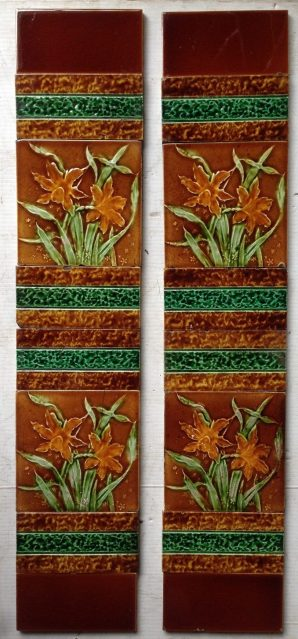 Victorian fireplace tile panels, original tiles and arrangement, some historical repairs $170