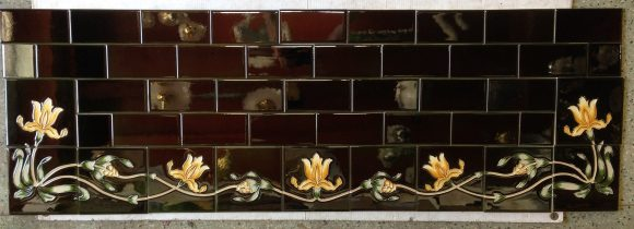 Reproduction tile hearth set, deep green with yellow iris border w1370 x d456mm $480