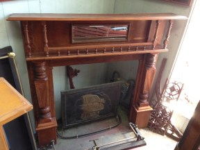 Original double shelf timber fireplace mantel/surround with turnings, top shelf length 1480mm $575