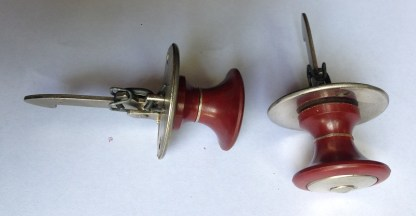 Rare old 'new stock' cupboard handles/latches, perfect condition, Persinware brand 'Tiltacach', 10x deep red and nickel finish, 20 x ivory and nickel finish. All brand new with all fittings. $15 each