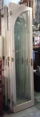 Three matching sets of tall French doors, full glass panels form a gothic arch. parliament hinges w1300 x h2650mm $440 per pair