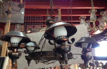 Interesting copper/bronze finish ceiling light, five arm with chains approx. 950mm diameter, $440