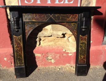 Original fireplace mantel with hand painted stone effect, top shelf w1443mm $400