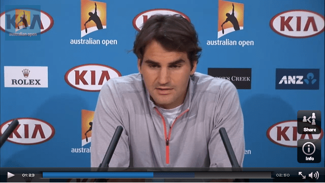 Federer press conference semifinal screen shot