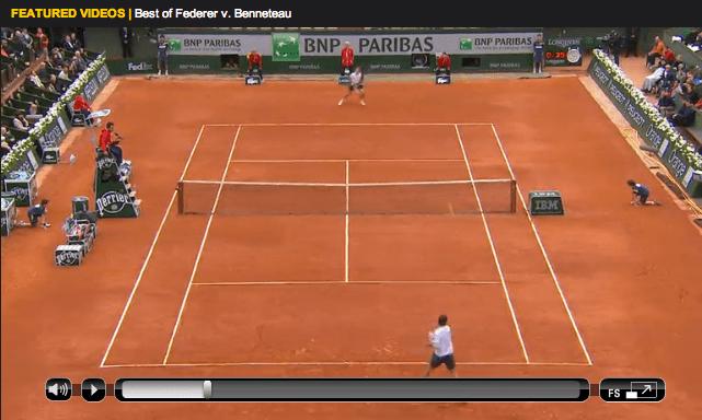 Federer Benneteau Roland Garros 2013 highlights