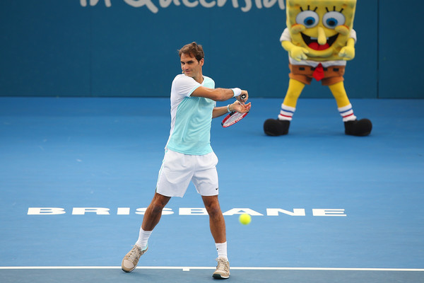 Roger Federer participating in Kids Day at the 2016 Brisbane International