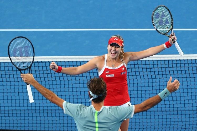 Roger Federer Belinda Bencic 2017 Hopman Cup Perth Australia