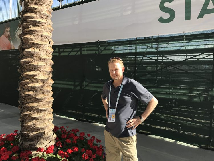 Rene Stauffer from Tages-Anzeiger Interviews with FedFan at 2017 BNP Paribas Open in Indian Wells