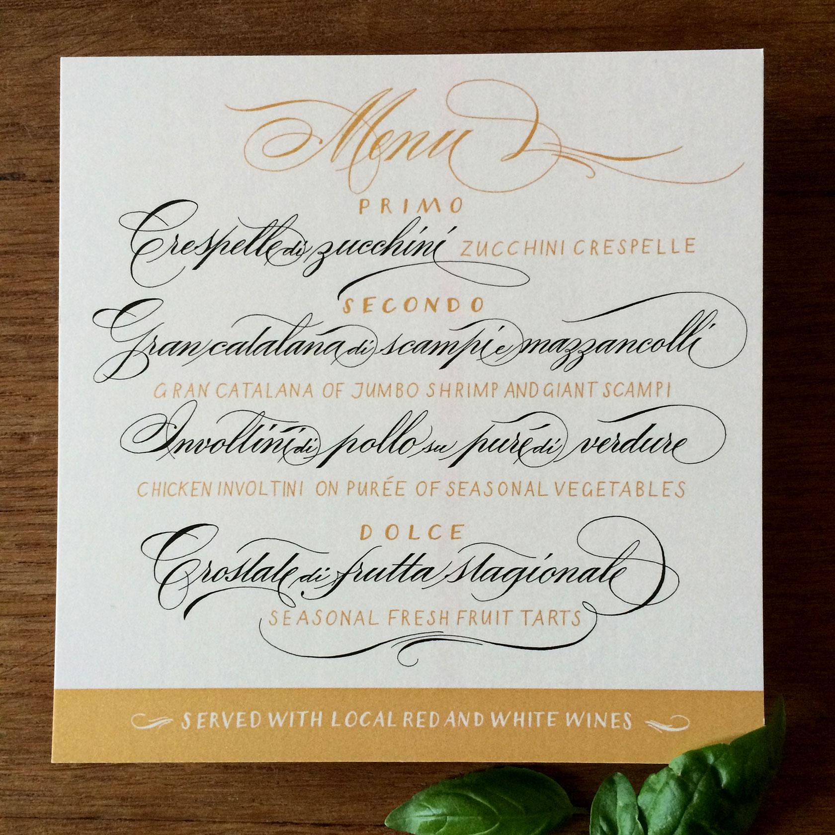 Federflug Kalligrafie  Hochzeitspapeterie  Menkarten