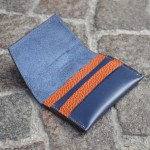 Blue & Tan Umbria Card Case, Open