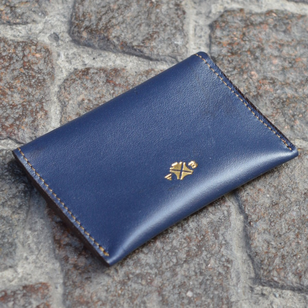 Blue & Tan Umbria Card Case, Back