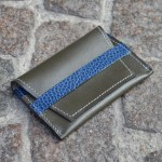 Dark Olive & Blue Umbria Card Case, Front