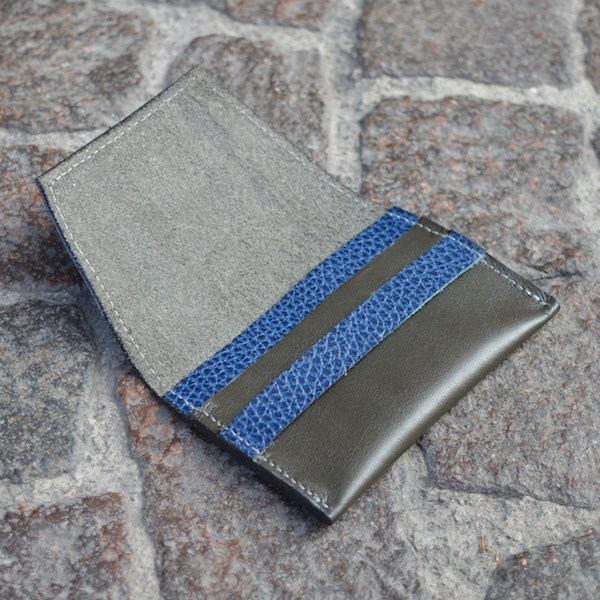 Dark Olive & Blue Umbria Card Case, Open