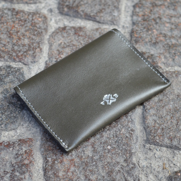 Dark Olive & Blue Umbria Card Case, Back