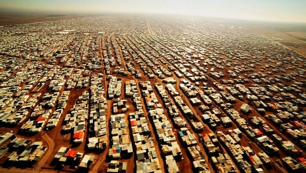 An aerial view shows the Zaatari refugee camp near the Jordanian city of Mafraq, some 8 kilometers from the Jordanian-Syrian border. 03/02/2016. BBC News