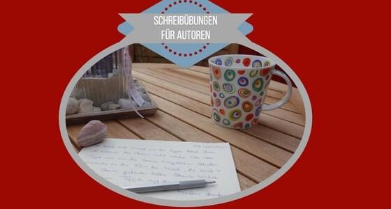 Becher auf einem Tisch mit einem Notizettel Schreibübungen für Autoren