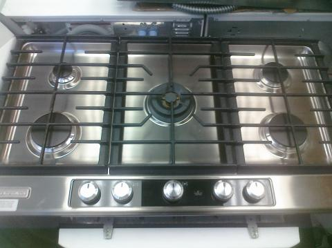kitchen aid gas cooktop built in trash cans for the 9 kfgu766vss 36 5 burner with front