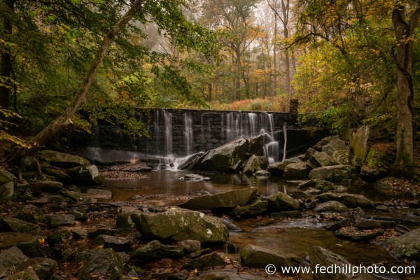 Fine art photograph of Rock Run Grist mill dam, waterfall, forest, water and fog at Susquehanna State Park.
