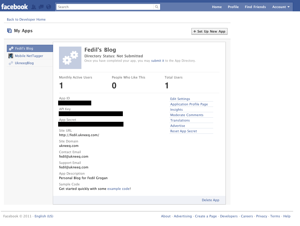 Facebook page application