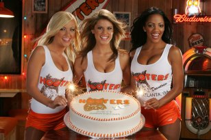 Hooters Girls with Cake