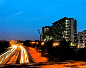 The under-construction Mark Center in Alexandria, Va., next to I-395 at dawn Aug. 4/from U.S. Army's Flickr page