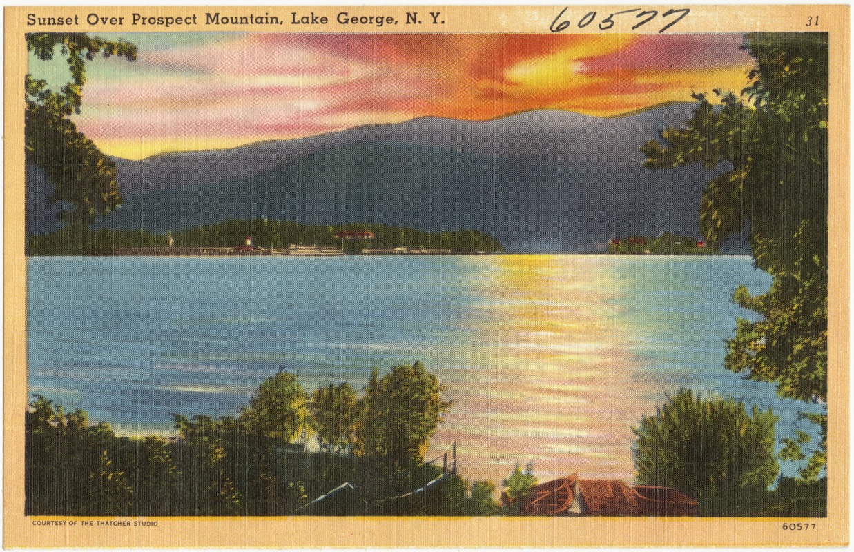 Prospect mountain is one of the most popular hikes in the lake george region at roughly three miles round trip. Sunset Over Prospect Mountain Lake George N Y Digital Commonwealth