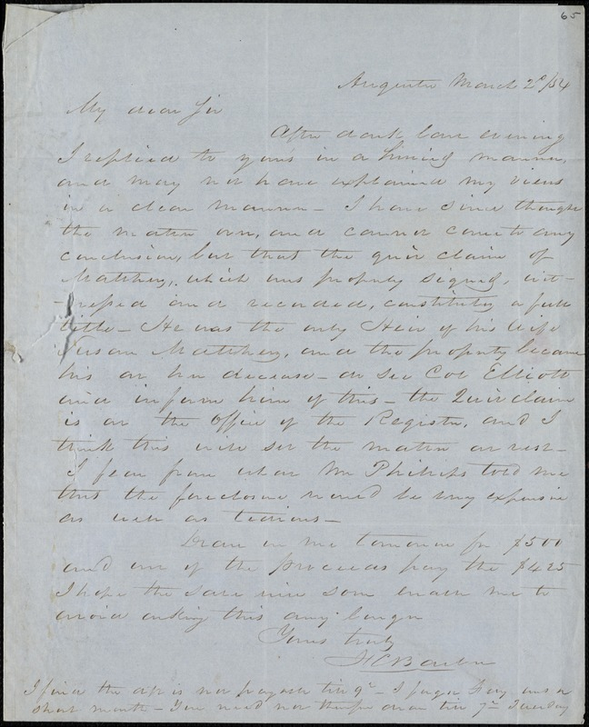F. C. Barber, Augusta, Ga., autograph letter signed to