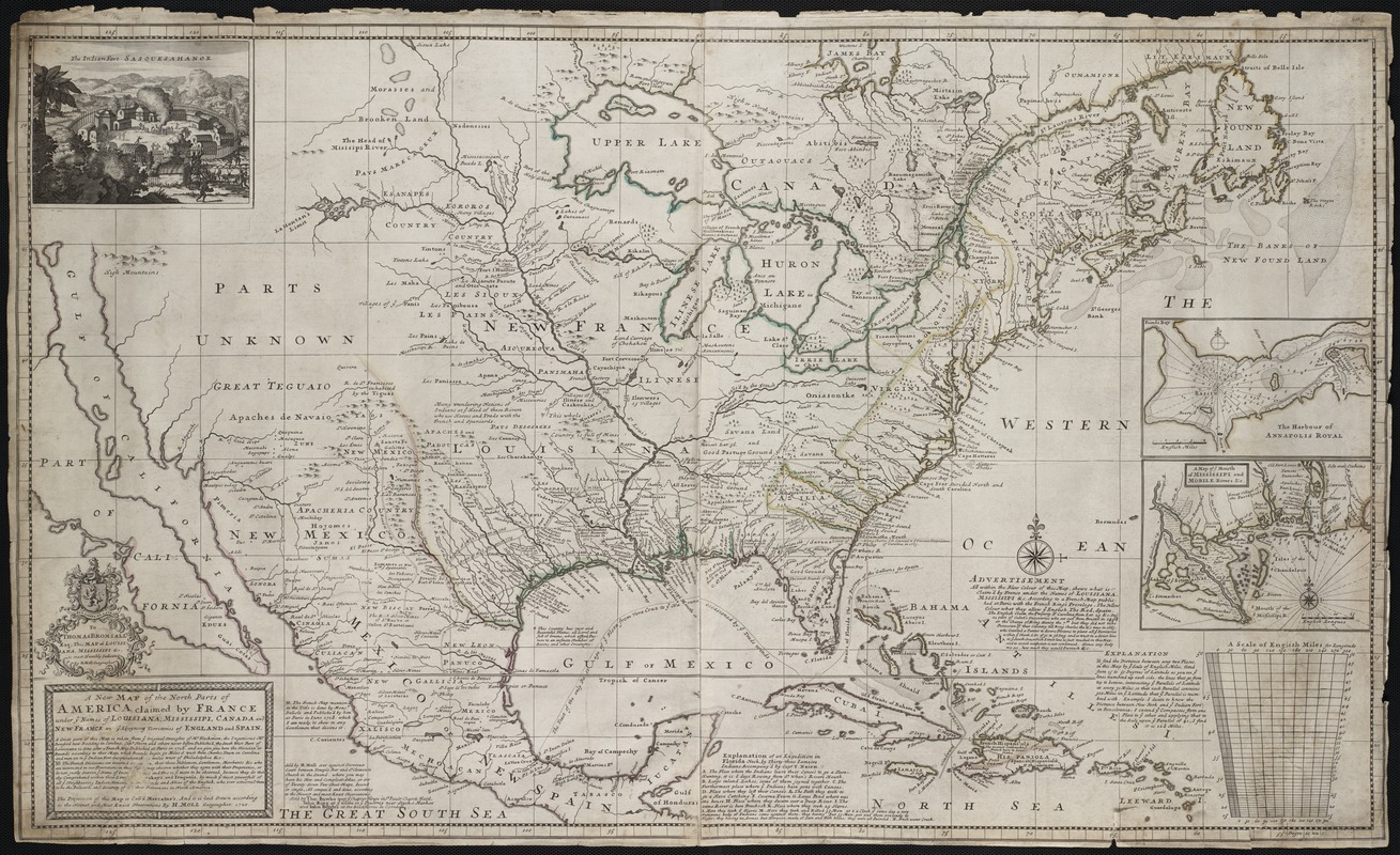 A New Map Of The North Parts Of America Claimed By France Under Ye Names Of Louisiana Mississipi Canada And New France With Ye Adjoining Territories Of England And Spain Norman