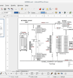 screenshot of libreoffice draw opening up a visio vsd diagram  [ 1243 x 822 Pixel ]