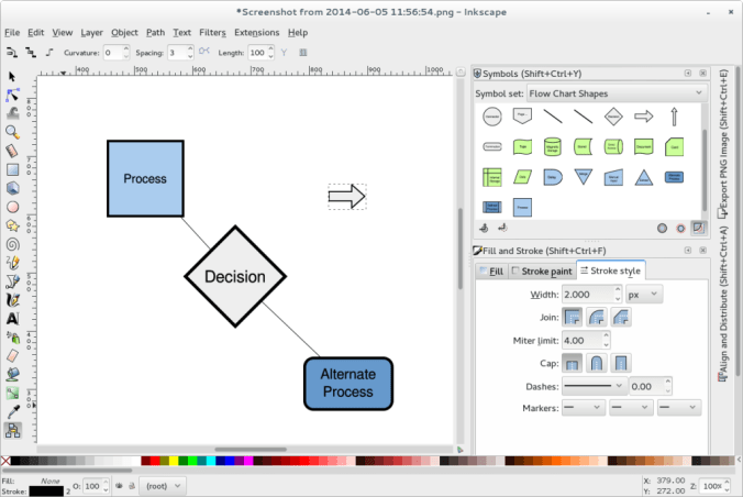 Screenshot of an Inkscape development version, showing some diagramming capabilities including the symbols library and enhanced diagram connector tool.