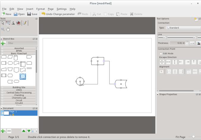 Calligra Flow diagramming tool in Fedora 20.