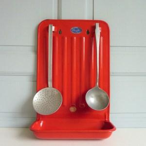Porte ustensiles émaillé rouge