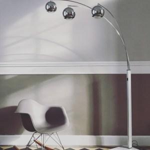 lampadaire 3 branches muguet seventies chrome et marbre