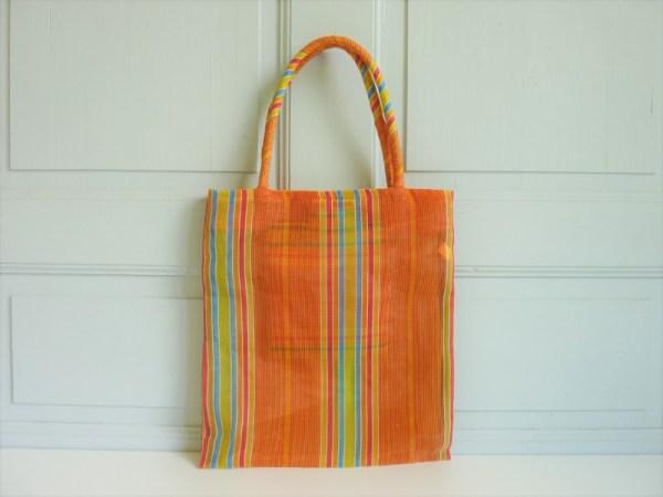 Sac rayures orange nylon vintage