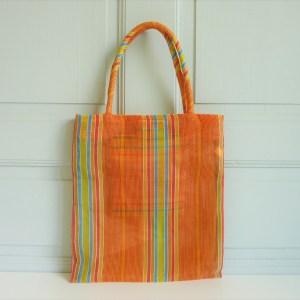 Sac rayures orange nylon vintage