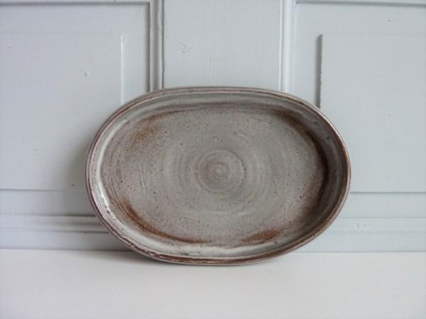 Coupelle vide poches plat ovale en céramique grès