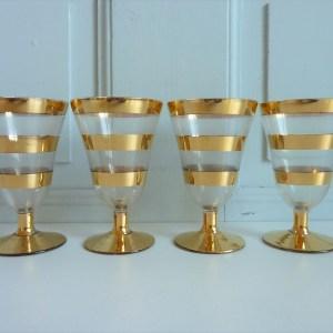 verres à pied rayés dorés anciens