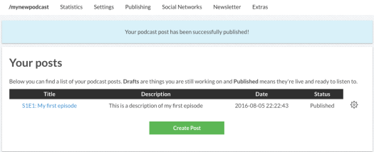 Podcast successfully published