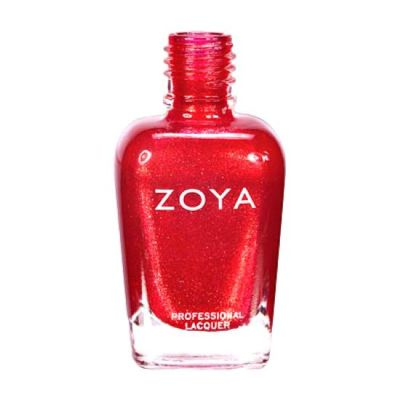 A polish bottle showing Kimmy by Zoya, described as a gleaming metallic candy apple red brightened by gold sparkle.
