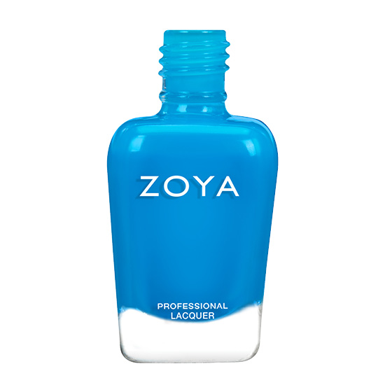 A bottle of Echo by Zoya, best described as a deep lagoon blue neon polish