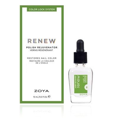 A bottle of Renew Polish Rejuvenator by ZOYA next to its packaging box.