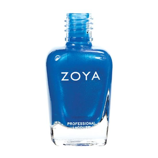 A bottle of Tallulah by Zoya, best described as a medium electric cobalt blue with fine bright aqua shimmer