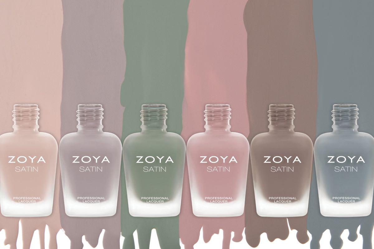 A group spill of the ZOYA Satin polish colors.