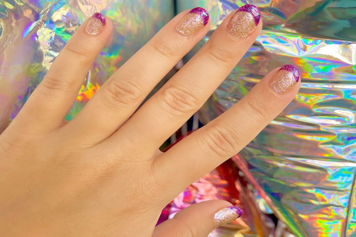 A French tip manicure with Cosmic Pop colors Eradani and Polaris by ZOYA.