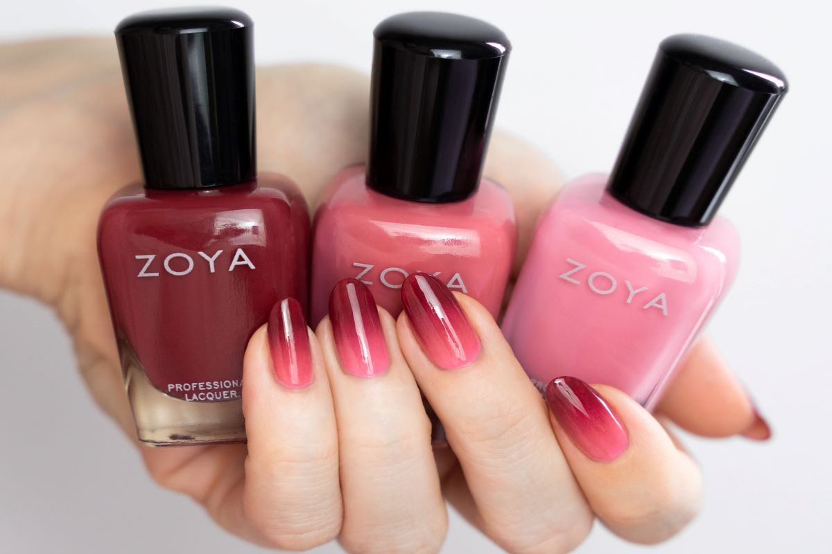A gradient manicure is shown using three shades from the ZOYA Rose Palette collection.