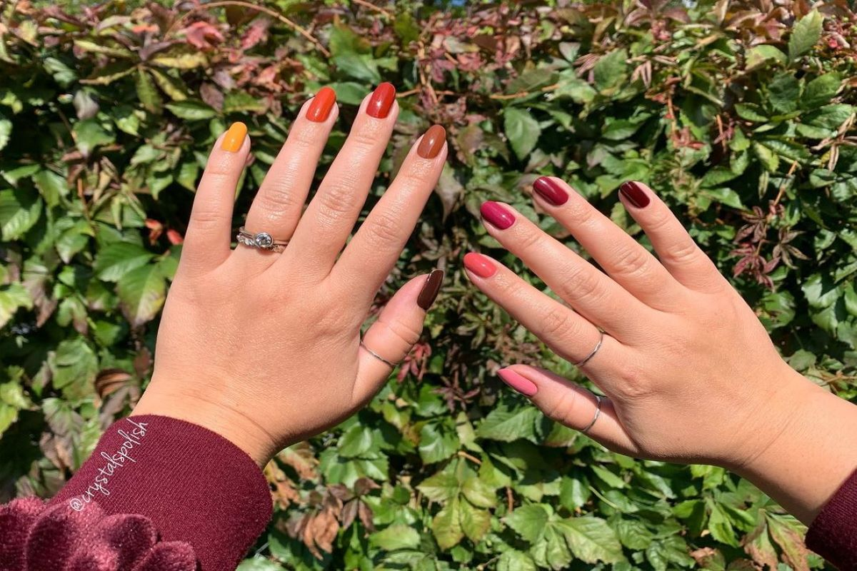 A skittle manicure using new Rose Palette and Sunset Palette for ZOYA Fall 2021.
